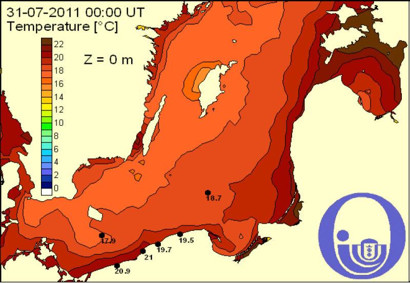 Temperatura w Bałtyku - 1 sierpnia