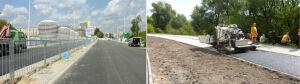 Trasa Świętokrzyska: asfalt na jezdniach, rozściełacz na ścieżce