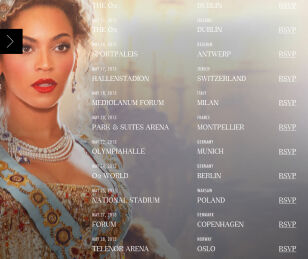 Trasa koncertowa Beyonce beyonce.com