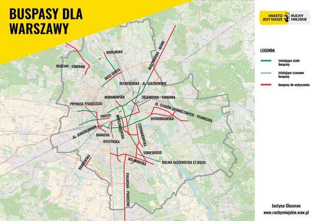 Plan budowy nowych buspasów Miasto Jest Nasze / Ruchy Miejskie