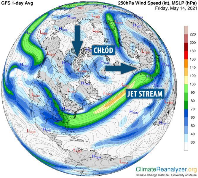 Jet stream oddzieli nas na długo nas od ciepła (climatereanalyzer.org/tvnmeteo.pl)