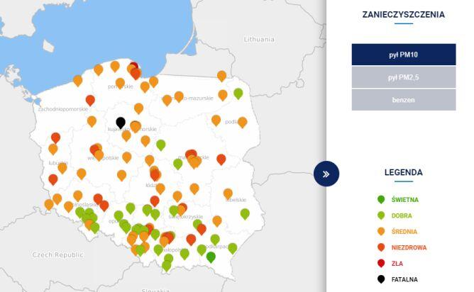 Stężenie pyłu PM10 w Polsce o godzinie 14 (tvnmeteo.pl za GIOŚ)