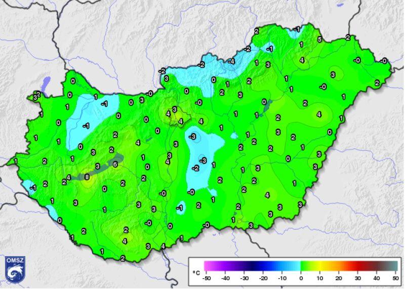 Minimalna temperatura o godzinie 8 czasu lokalnego odnotowana 26.09 (met.hu)