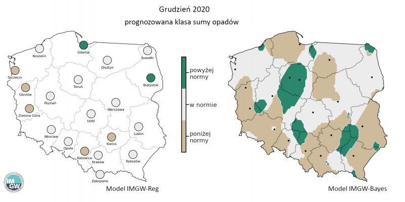Prognozowana klasa miesięcznej sumy opadów w grudniu 2020 r. według modelu IMGW-Reg i IMGW-Bayes (IMGW-PiB)